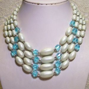 R-1755 Vintage -4 Strand Blue Glass Bead Necklace